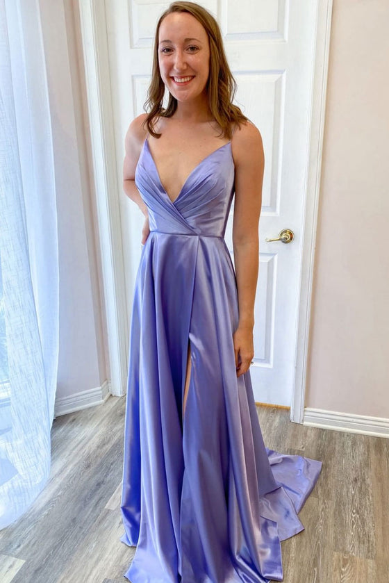 Simple v neck purple satin long prom dress purple evening dress