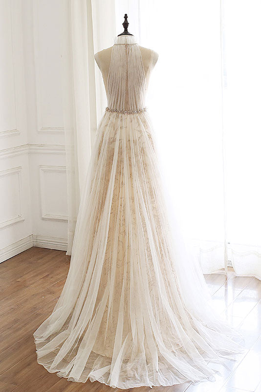 Light champagne tulle lace long prom dress, formal dress