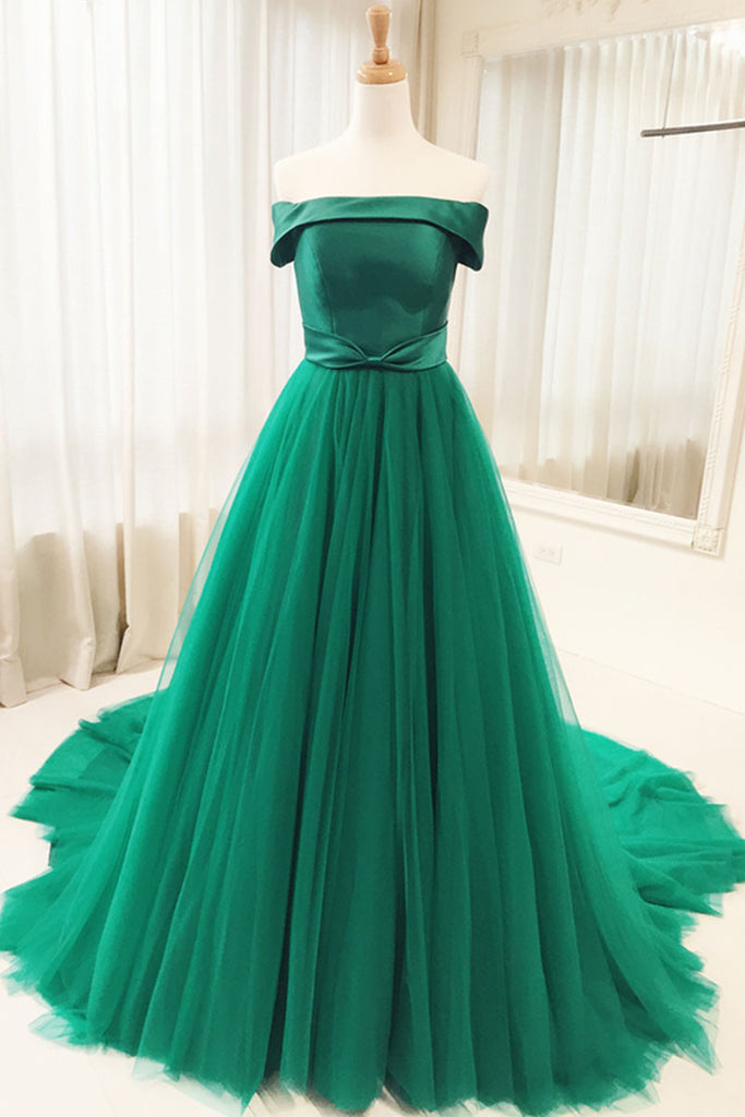 Simple green tulle long prom dress, green evening dress
