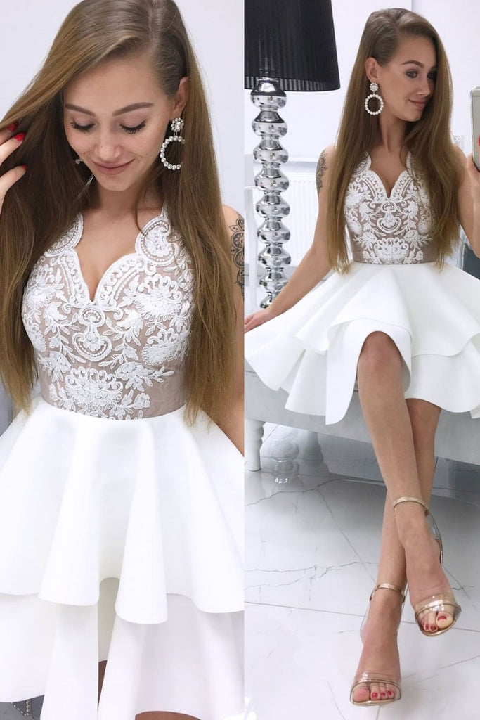 Cute white v neck lace short prom dress white lace cocktail dress