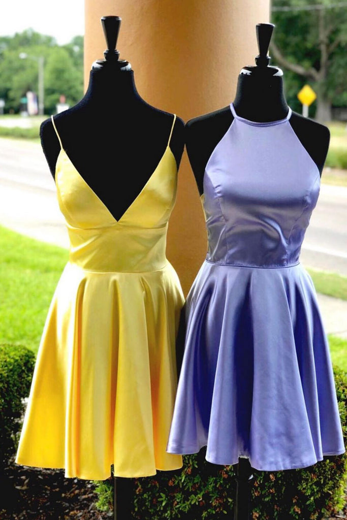 Simple satin short prom dress, satin homecoming dress