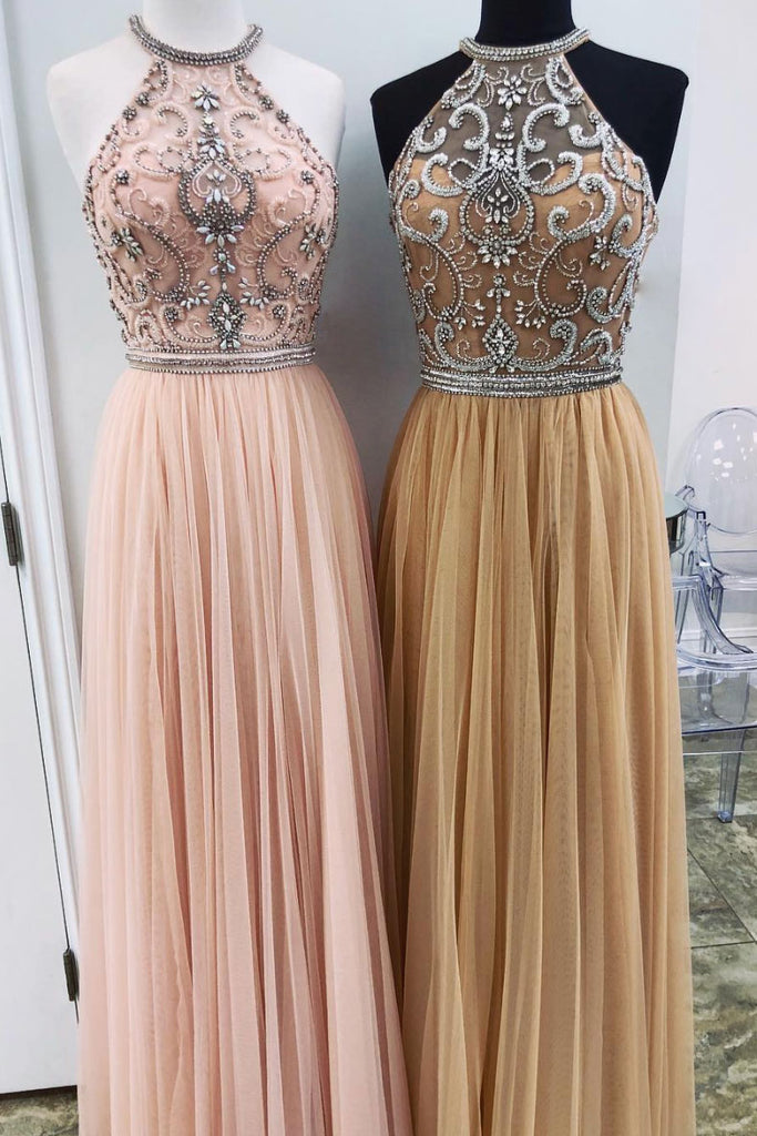 Unique high neck tulle beads long prom dress tulle formal dress