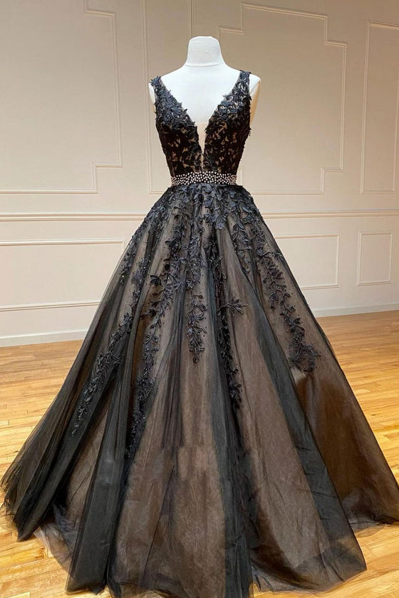 Black v neck tulle lace beads long prom dress black tulle formal dress