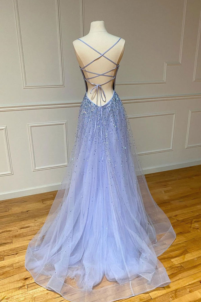 Purple tulle sequin long prom dress sequin evening dress