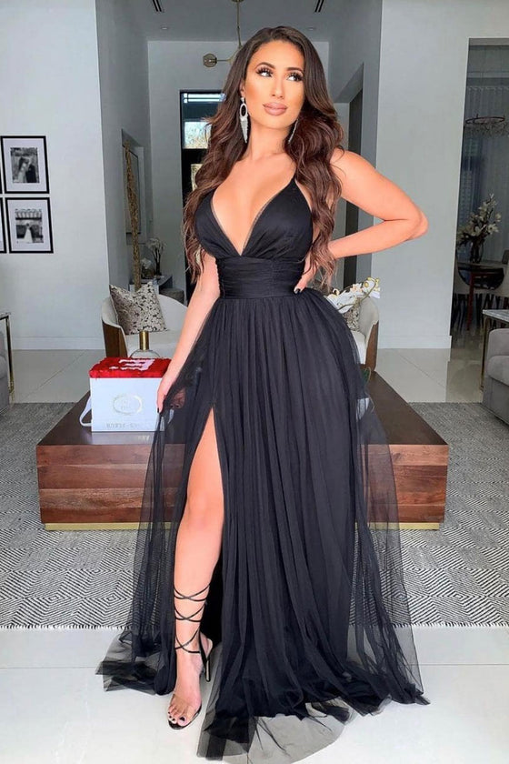 Simple black v neck tulle long prom dress black formal dress