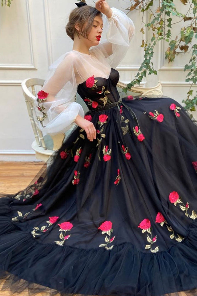 Black tulle lace long prom dress black tulle formal dress