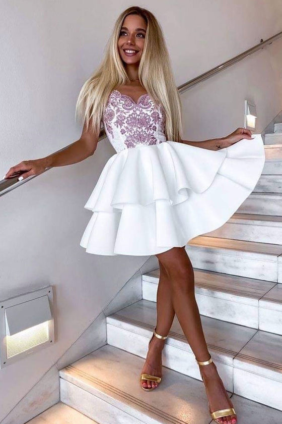 White v neck satin lace short prom dress white homecoming dress
