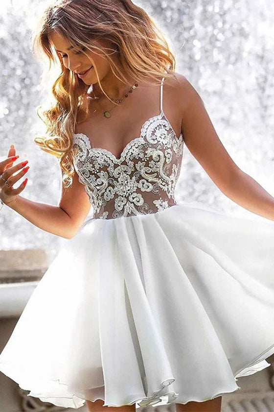 White lace satin short prom dress white lace homecoming dress
