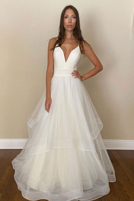 Simple white tulle long prom dress white tulle formal dress