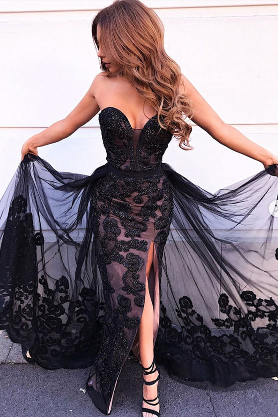 Black sweetheart tulle lace beads long prom dress black evening dress
