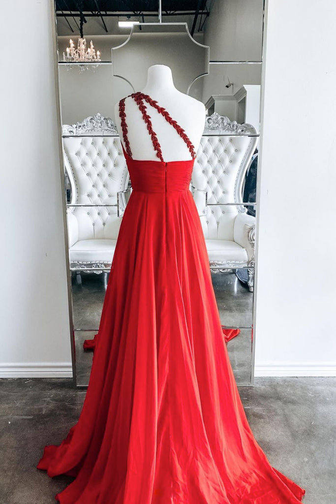 Red one shoulder chiffon long prom dress red evening dress