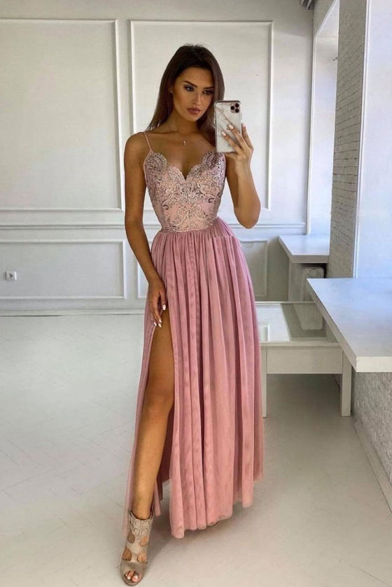 Pink v neck lace long prom dress pink bridesmaid dress