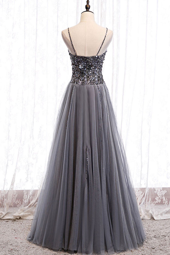 Gray tulle sweetheart neck sequin long prom dress gray formal dress