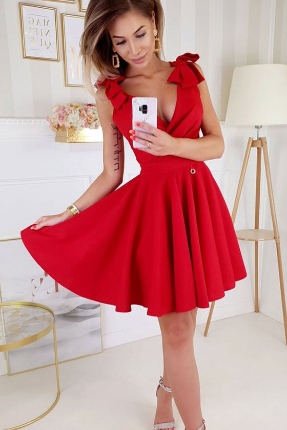 Red v neck satin short prom dress red satin homecoming dress