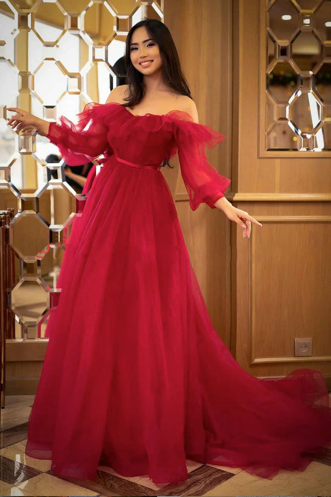 Simple red tulle long prom dress red formal dress