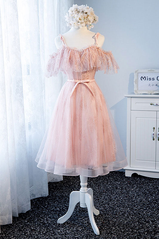 Pink tulle lace short prom dress, pink tulle lace homecoming dress