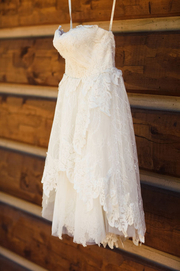 Cute lace short prom dress, lace short wedding dress