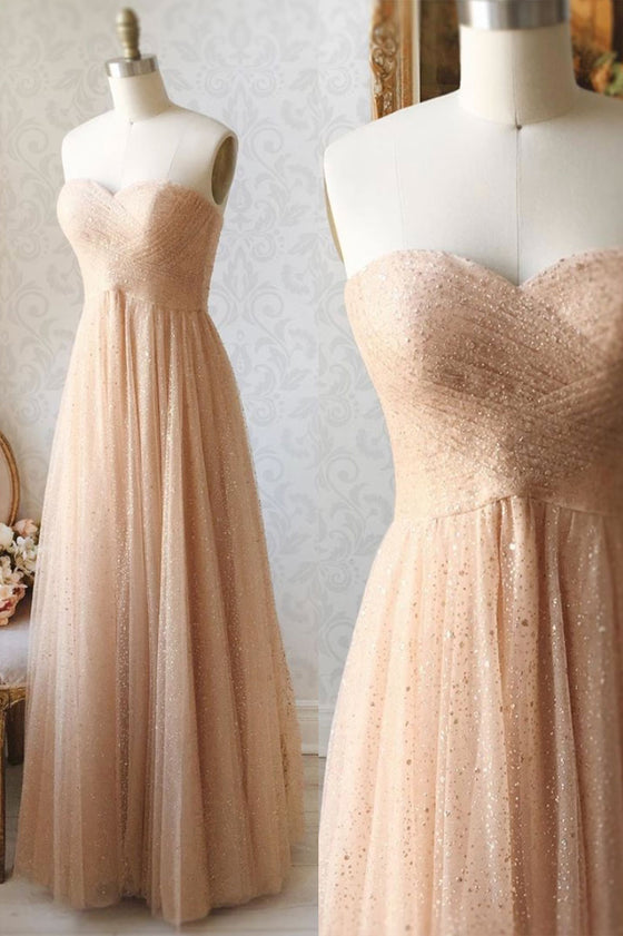 Champagne sweetheart tulle sequin beads long prom dress
