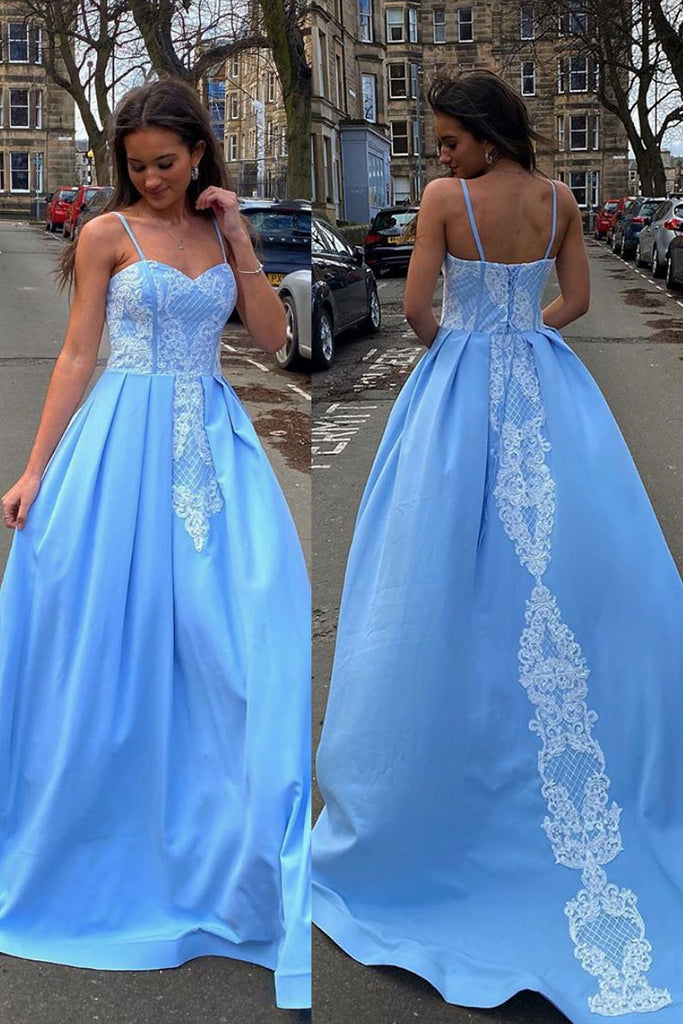 Blue sweetheart neck satin lace long prom dress blue formal dress