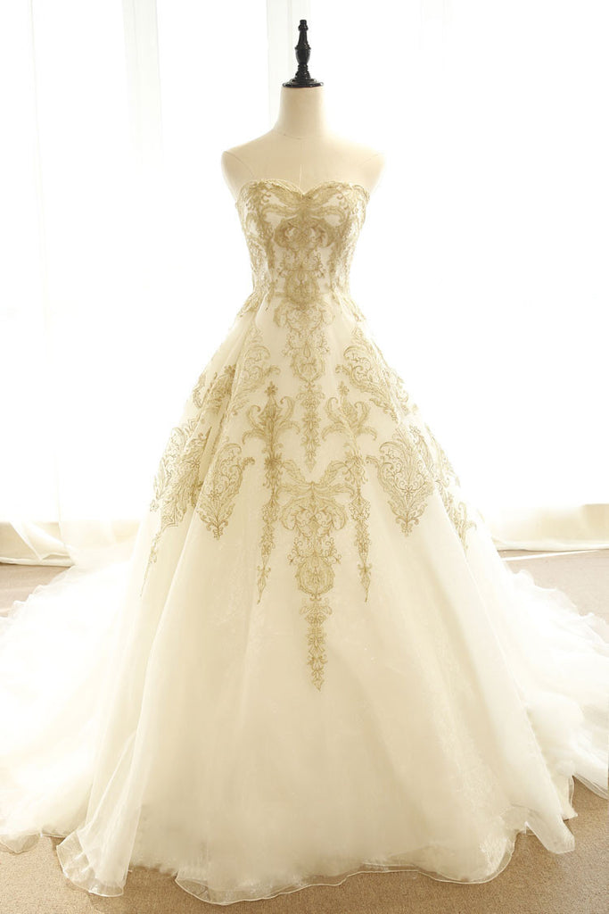 Champagne lace long wedding dress, champagne bridal dress