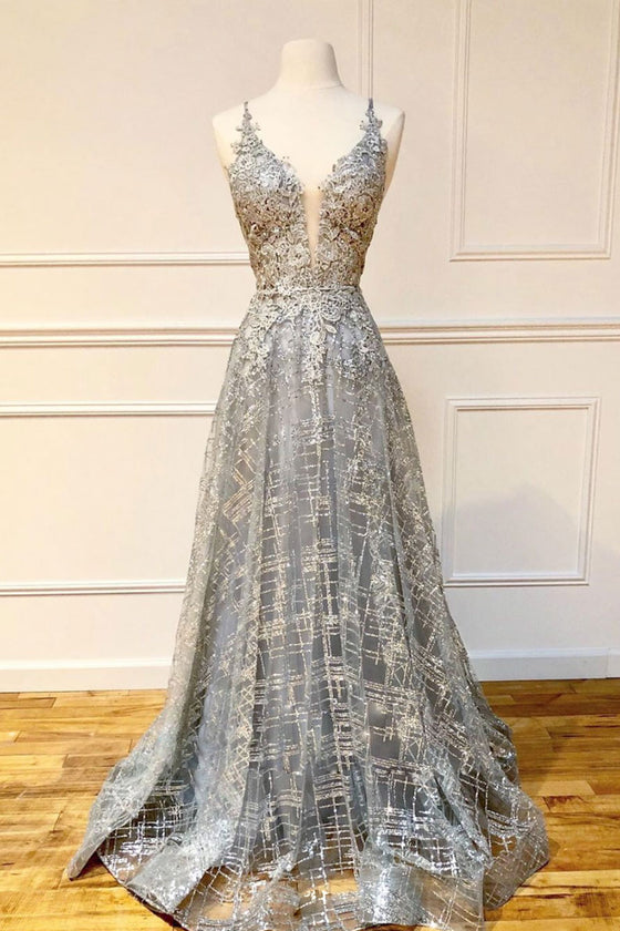 Gray v neck tulle lace long prom dress gray evening dress