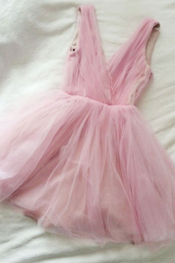 Cute v neck pink short prom dress, pink homecoming dress