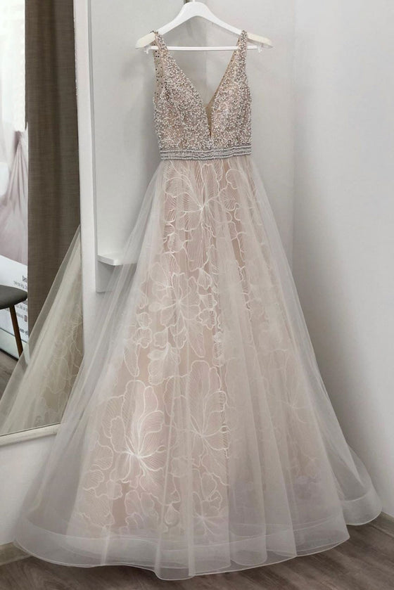 Unique v neck tulle beads long prom dress, champagne evening dress