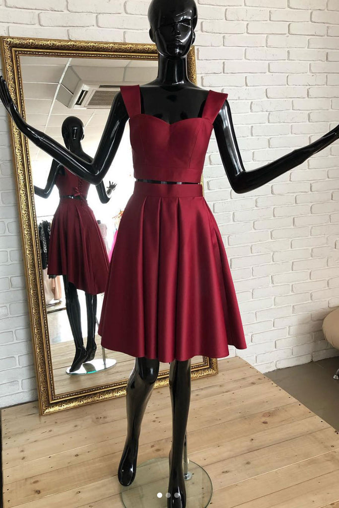 Burgundy two pieces short prom dress, burgundy homecoming dress
