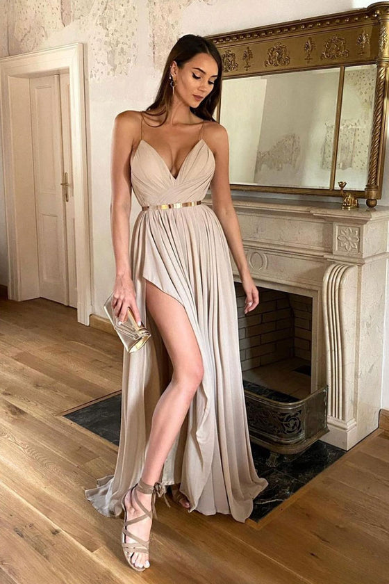 Champagne v neck chiffon long prom dress champagne evening dress