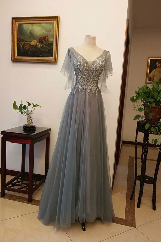 Gray v neck tulle sequin long prom dress, gray evening dress
