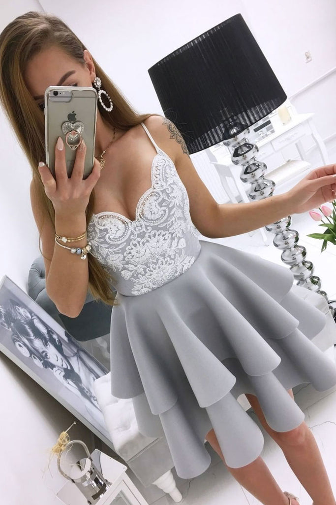 Gray lace short prom dress gray lace cocktail dress