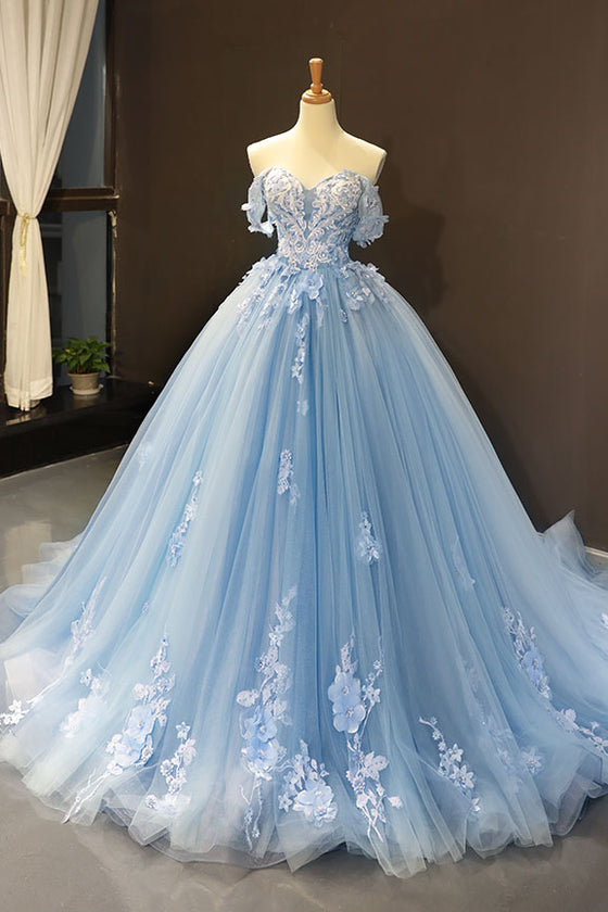 Blue off shoulder tulle lace long prom dress, blue evening dress