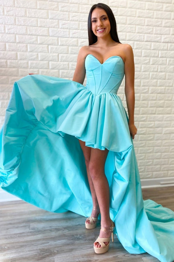 Blue sweetheart neck satin high low prom dress blue evening dress