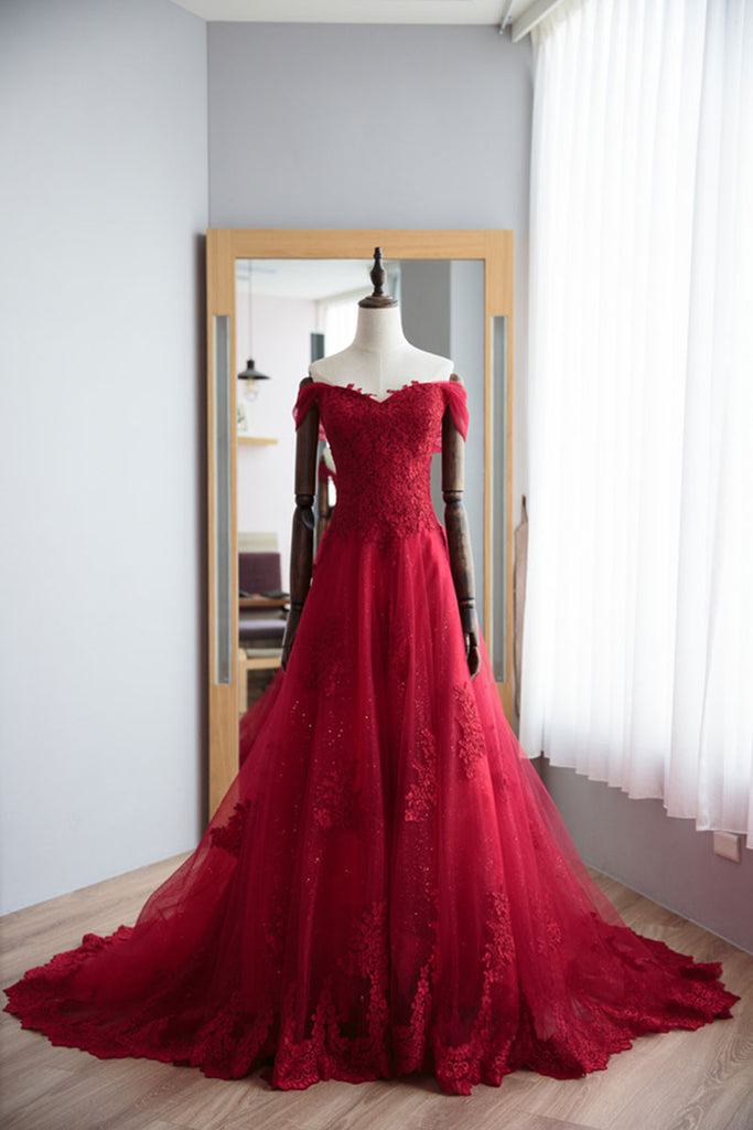 Red sweetheart lace tulle long prom dress, red evening dress