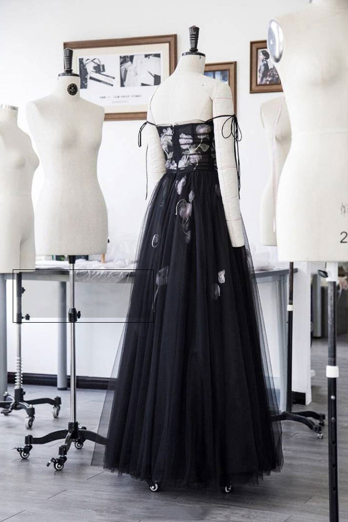 Black tulle long prom dress, black tulle evening dress