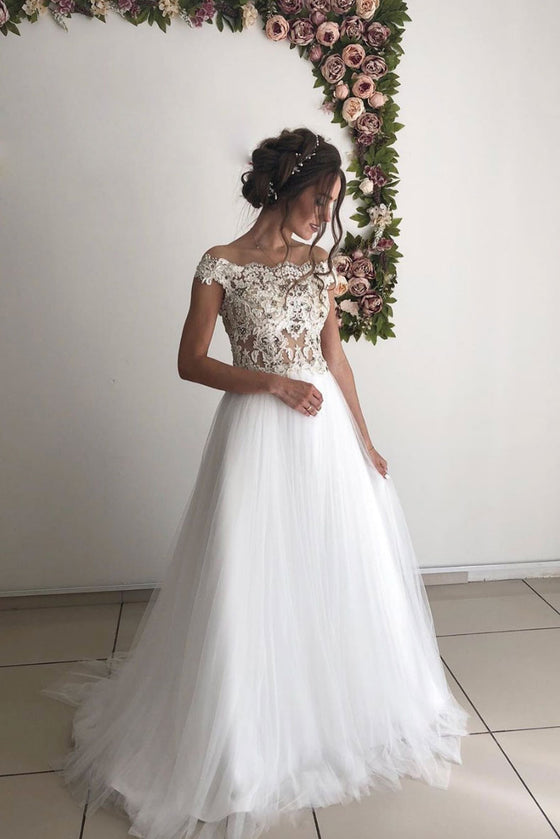 White tulle lace long prom dress white lace wedding dress
