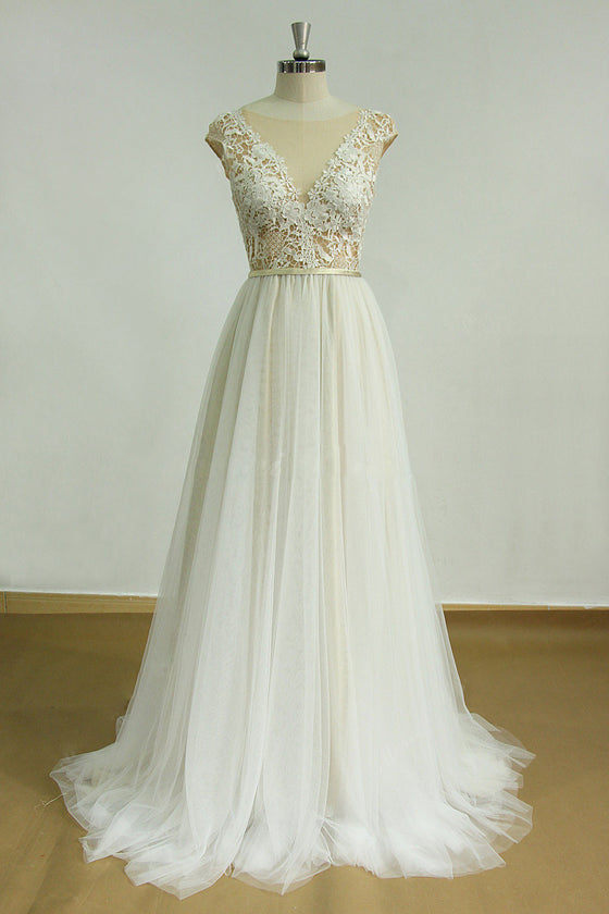 White Aline round neck lace long prom dress, lace wedding dress