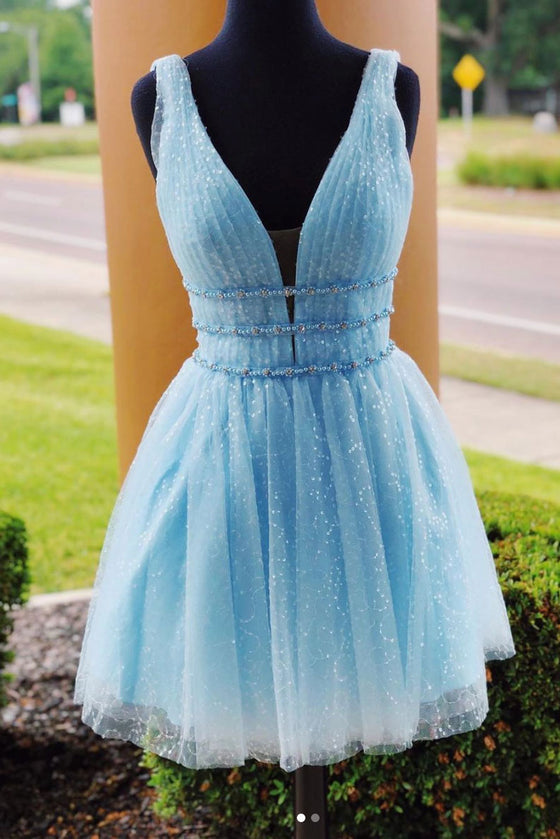 Blue v neck tulle short prom dress, blue tulle homecoming dress