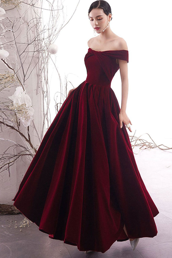 Simple burgundy long prom dress burgundy formal dress