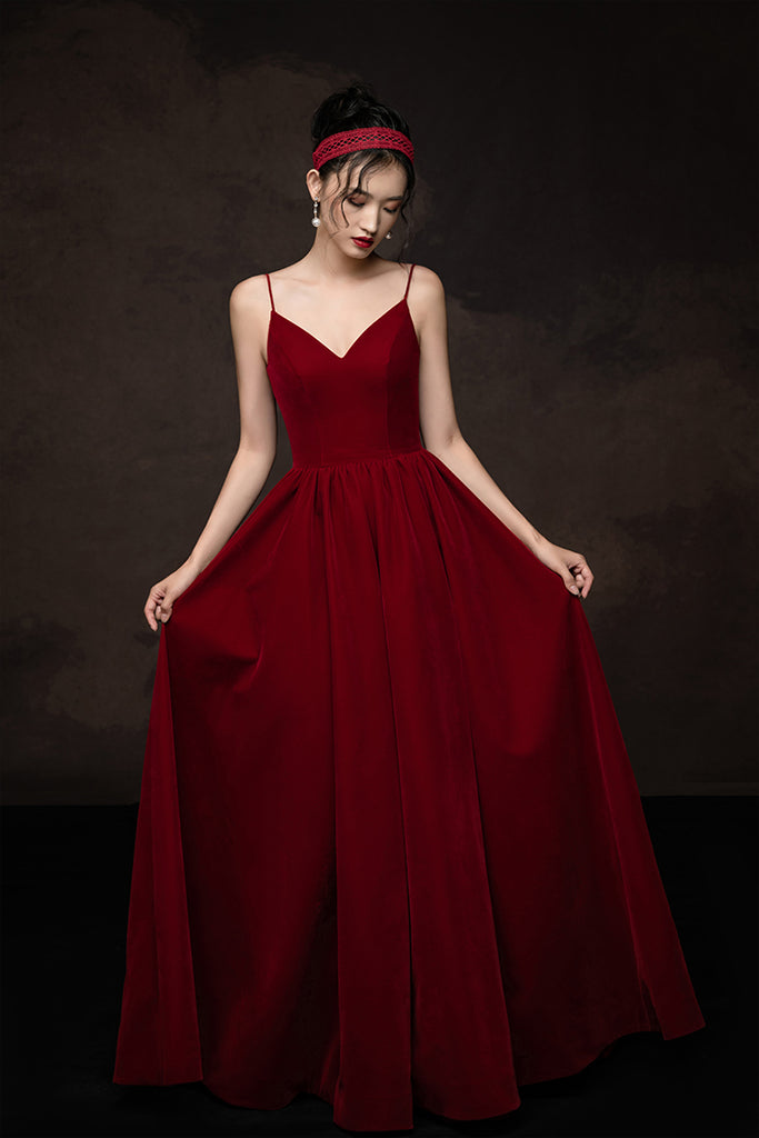 Simple v neck burgundy long prom dress burgundy bridesmaid dress