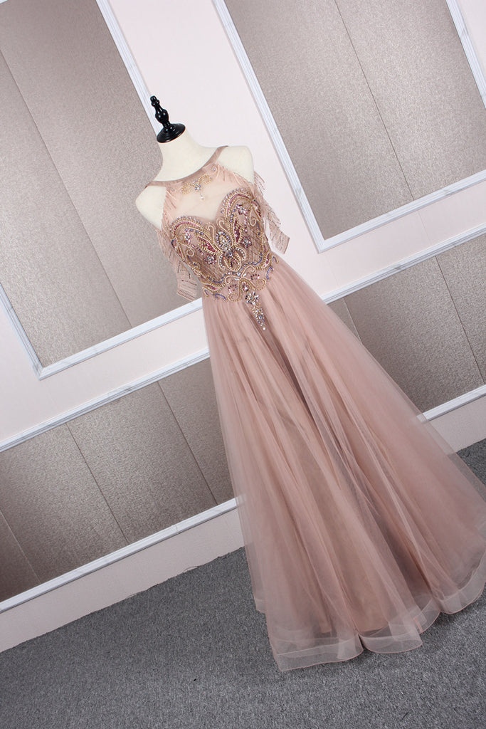 Champagne tulle beads long prom dress champagne evening dress