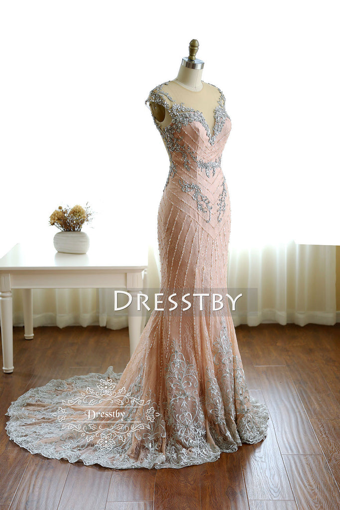 Unique pink round neck beaded long prom dress, pink evening dress