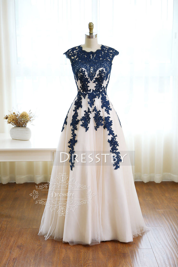 Dark blue round neck tulle lace long prom dress, bridesmaid dress