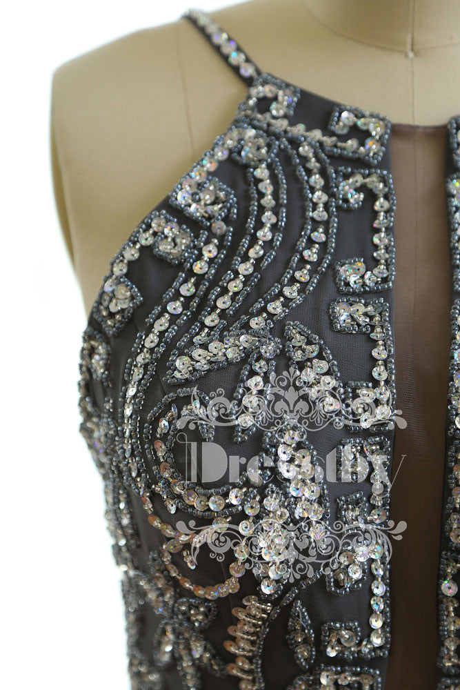 Dark Gray sequin long prom dress, gray backless evening dress