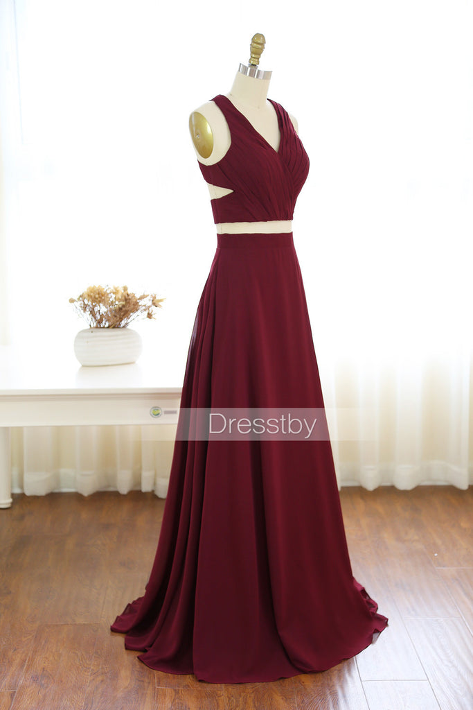 Two pieces burgundy chiffon long prom dress, evening dress