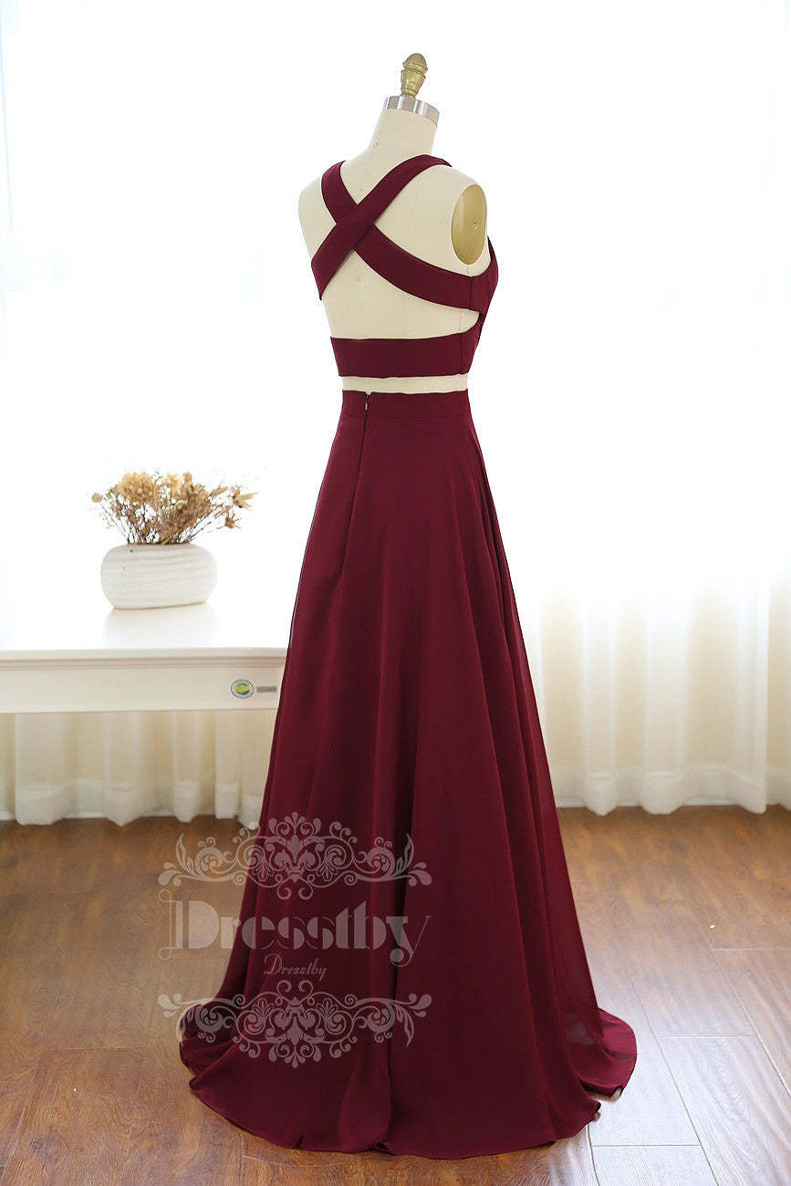 Two pieces burgundy chiffon long prom dress 5ec2c072f