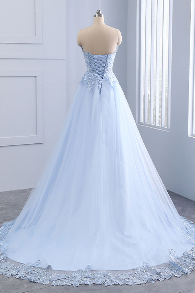 Light blue lace tulle long prom dress, evening dress