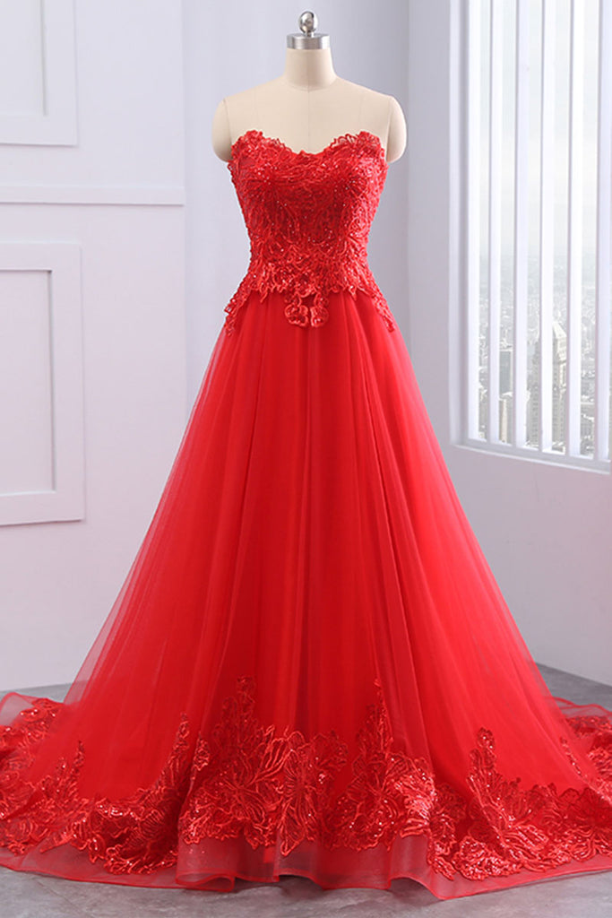 Red lace tulle long prom dress, evening dress