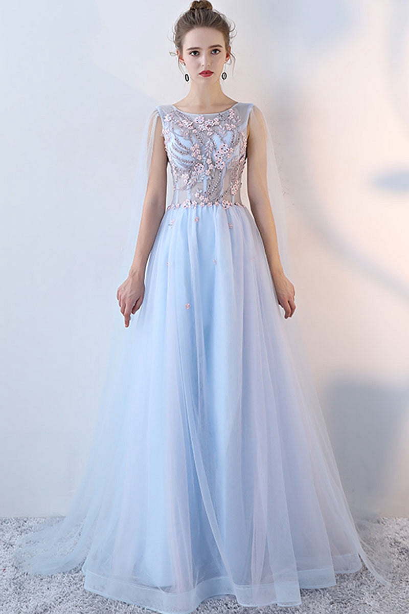 35188a3474 Light blue tulle lace long prom dress