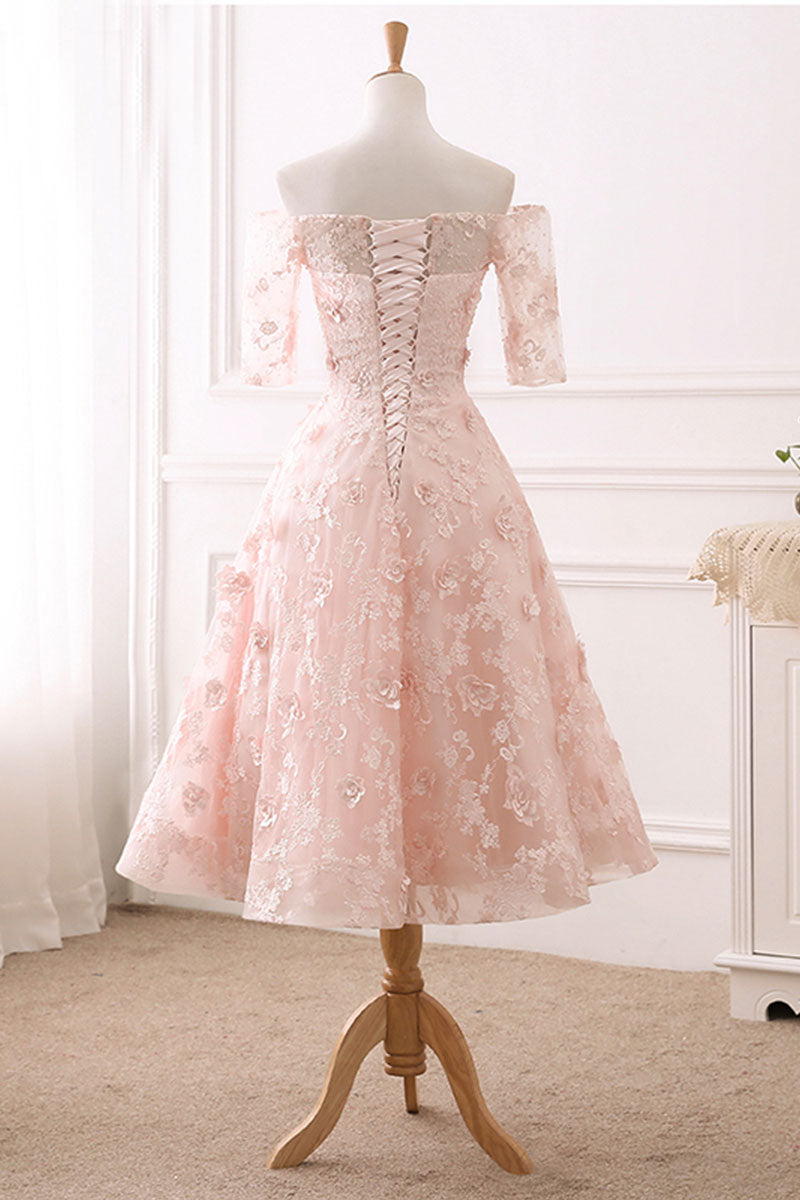 Pink lace tulle tea length prom dress, lace evening dress - dresstby